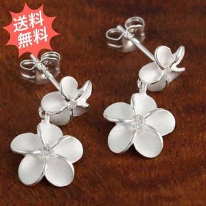 ハワイアンジュエリー ピアス 幸せのプルメリア柄 Lサイズ  気品ある花が幸せを運んできます Silver925 ピアス型イヤリング|breezyisland