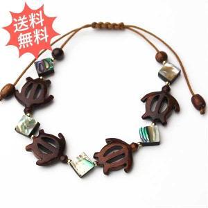 コアウッド ブレスレット 「ホヌ&アバロンダイヤモンド」 幸せを運んで来てくれるホヌ 琥珀色に輝く貴重なハワイコアの木