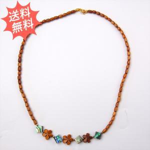 ハワイアンアクセサリー コアウッド ネックレス 50cm プルメリア&アバロンダイヤモンド 琥珀色に輝く永遠の愛♪ 貴重なハワイアンコアの木 breezyisland