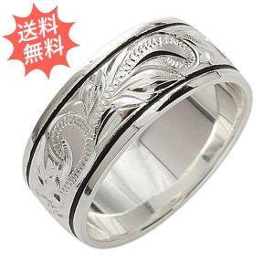 ハワイアンジュエリー 指輪 ハワイアンリング プルメリア スクロール ブラック帯 Silver925 永遠の愛が運ばれる指輪 プレーン8mm幅|breezyisland