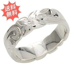ハワイアンジュエリー 指輪 リング プルメリア&スクロール柄  Sliver925 永遠の愛が運ばれる指輪 カットアウト6mm幅|breezyisland