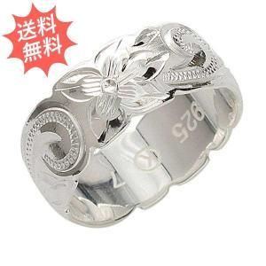 ハワイアンジュエリー 指輪 リング プルメリア&スクロール柄  Sliver925 永遠の愛が運ばれる指輪  カットアウト8mm幅|breezyisland