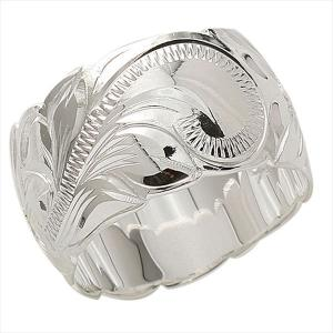 ハワイアンジュエリー 指輪 リング プルメリアとスクロール柄の定番 シルバー カットアウト12mm幅 Silver925|breezyisland