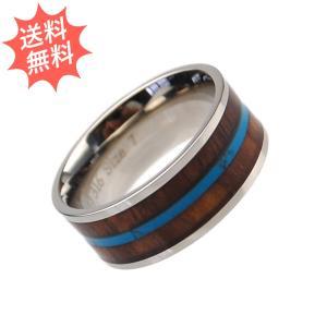 ハワイアンジュエリー メンズ 指輪 リング コアウッド  ステンレス 美しい神秘の輝き 8mm幅 breezyisland