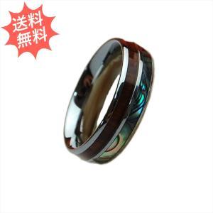 ハワイアンジュエリー 指輪 リング アバロン&コアウッド 6mm幅 美しく輝く貴重なハワイアンコアウッドジュエリー breezyisland