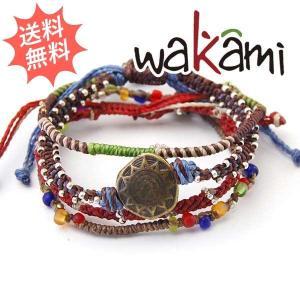 Wakami ワカミ レディース アースブレスレット 4 STRAND 紐 女性用サイズ|breezyisland