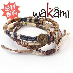 Wakami ワカミ メンズ レディース アースブレスレット 4 STRAND 紐 男女兼用サイズ|breezyisland