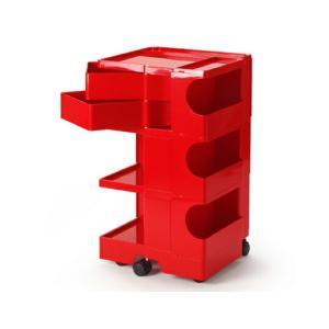 ボビーワゴン 3段2トレイ レッド ジョエ コロンボ イタリア MoMAパーマネントコレクションB-LINEインテリアリビング キッチンキャスター付ワゴン多機能ワゴン bricbloc