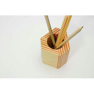 PAPER-WOOD PEN STAND ペーパウッドペンスタンド ステーショナリー デスクオブジェシンプルデザイン白樺間伐材積層合板オブジェペン立てギフト プレゼント|bricbloc