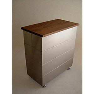 TRASH BOX PB-1W天然無垢材papperskorg ダストボックス ダブルタイプ ステンレス製ゴミ箱 kennerオリジナルブランド受注生産インテリア キッチンリビング|bricbloc