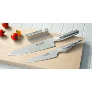 吉田金属工業YOSHIKIN GLOBAL 牛刀3点セット GLOBAL 人気のG-2(牛刀)、GS-3(ペティーナイフ)の定番セット 簡易シャープナー付 包丁セット ギフト キッチン|bricbloc