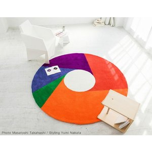 Max Bill/マックス ビル ラグ カラーホイール1800mm カーペット ラグ インテリア リビング アクリル糸 床暖房ホットカーペット対応 日本製 グラフィックアート|bricbloc