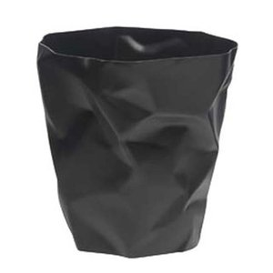 essey Mini BinBin Blackダストボックスゴミ箱インテリアクシャクシャに潰された表面アートなゴミ箱エコ素材であるポリエチレン製ギフト観葉植物の鉢カバー|bricbloc