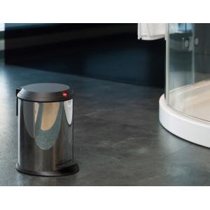 Hailo T1.4 ペダルビン ステンレス ゴミ箱静かに閉じる丈夫なプラスチック製のフラットなふたインナービンの取り外し 水洗いが可能持ち運びに|bricbloc