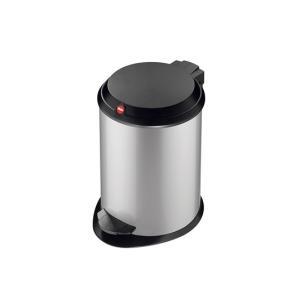 Hailo T1.4 ペダルビン シルバー ゴミ箱静かに閉じる丈夫なプラスチック製のフラットなふたインナービンの取り外し 水洗いが可能持ち運びに|bricbloc