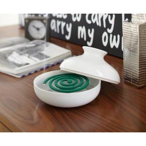 KATORI POT WHITE 蚊取り用ポット ホワイト 巻蚊取り線香専用 陶器製|bricbloc