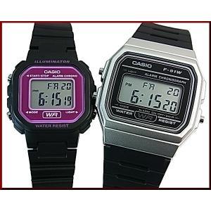 cc97bacf71 CASIO Standard カシオ スタンダード アラームクロノグラフ ペアウォッチ 腕時計 デジタル液晶モデル ブラックラバーベルト 海外モデル  F-91WM-7A/LA-20WH-4A