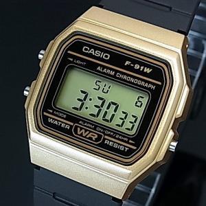 d76277e3ac CASIO Standard カシオ スタンダード アラームクロノ メンズ腕時計 軽量・薄型デジタルモデル ゴールドケース ラバーベルト 海外モデル  F-91WM-9A