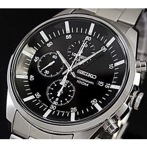 SEIKO / Chronograph セイコー / クロノグラフ メンズ腕時計 メタルベルト ブラック文字盤 SNDC81P1 海外モデル