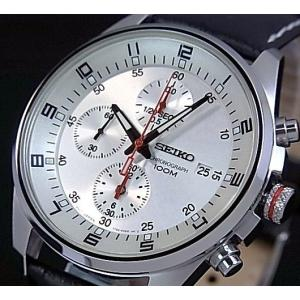 SEIKO / Chronograph セイコー / クロノグラフ メンズ腕時計 ブラックレザーベルト シルバー文字盤 SNDC87P2 海外モデル