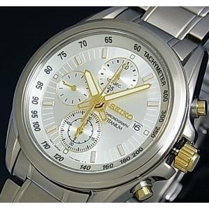 SEIKO / Chronograph セイコー / クロノグラフ メンズ腕時計 シルバー/ゴールド文字盤 メタルベルト SNDC95P1 海外モデル