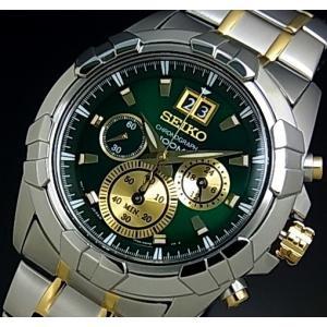 SEIKO / LORD セイコー / ロード クロノグラフ メンズ腕時計 コンビメタルベルト グリーン/ゴールド文字盤 SPC186P1 海外モデル