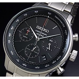 SEIKO / Chronograph セイコー / クロノグラフ メンズ腕時計 メタルベルト ブラック文字盤 SSB165P1 海外モデル