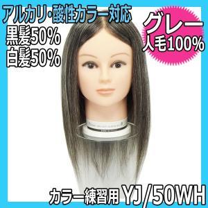 カラーリング練習ウィッグ・人毛100%・黒髪50%白髪50% YJ/50WH グレーヘアーウィッグ 酸性・アルカリカラー対応 bright08