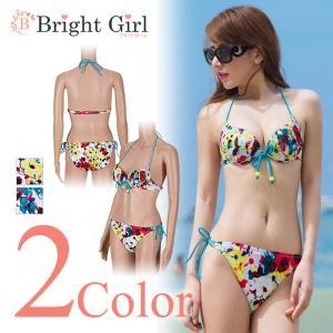 水着 ビキニ bikini 3点セット 全2色 イエロー ブルー 黄色 青 3ways 花柄 三角ビキニ ビキニ 水着 かわいい レディース 体型カバー|brightcosplay