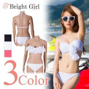 水着ビキニ bikini 3点セット ブラック ホワイト ピンク 黒 白 pink シンプル 三角ビキニ 水着 かわいい レディース 体型カバー|brightcosplay