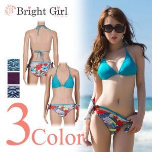 水着 ビキニ bikini 3点セット 2種類 ピンク ブルー pink 青 三角ビキニ かわいい 水着 かわいい レディース 体型カバー|brightcosplay
