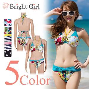 水着 夏 bikini 体型カバー 3ways 花柄 ボーダー柄 どっと柄 ホルターネックセクシー 水着 かわいい レディース 体型カバー|brightcosplay