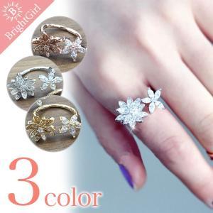 愛らしいデザイン 大小の2つの花 フラワー花 エレガント 指輪 アシンメトリー elegant リング 3色 指輪 レディース |brightcosplay