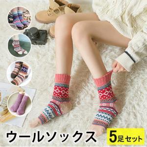 (レディース 靴下)(暖かい)ジャカード柄ソックス 靴下 ロ...
