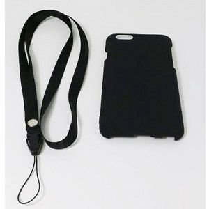 iPhone6/6s用 ラバーコーティングケース  ネックストラップ付 (4.7)ブラック|brightonnetshop