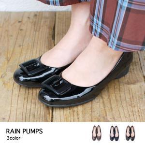 レインパンプス  バックルデザイン ウェッジ 撥水加工 防水 歩きやすい レインシューズ 梅雨対策|brignton-plus