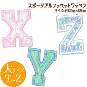 アルファベット ピンク ブルー ホワイト シンプル スポーツワッペン 大サイズ A〜S broderie01