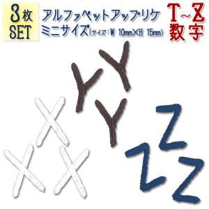 アルファベット イニシャル アイロン ワッペン 小 T〜Z 数字|broderie01