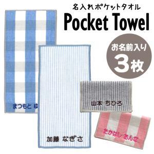 名入れ 刺繍 ポケットタオル 3枚 名前 キッズ 子供 男の子 女の子 ギフト 送料無料 ハンドタオ...