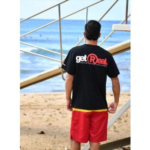 REAL B VOICE/リアルビーボイス サーフ半袖Tシャツ10101-10302 GET REAL プリント Tシャツ ブラック|bros-clothing