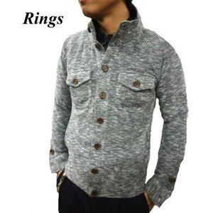 RINGS/リングス 115302 杢ニットスタンドカバーオール 杢グレー|bros-clothing