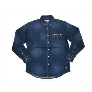 Dickies/ディッキーズ 長袖シャツ161M20WD13 ボタンダウン デニムシャツ インディゴブルー|bros-clothing
