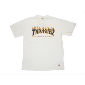 Dickies/ディッキーズ×THRASHER・コラボ 171V30TR05 「THRASHERフレイム・ロゴ&Dickiesロゴ」プリント 半袖Tシャツ ホワイト|bros-clothing