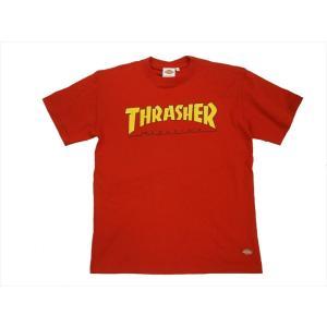 Dickies/ディッキーズ×THRASHER・コラボ 171V30TR08 「マガジンプリント&フレイムDickies」プリント 半袖Tシャツ レッド|bros-clothing