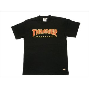 Dickies/ディッキーズ×THRASHER・コラボ 171V30TR08 「マガジンプリント&フレイムDickies」プリント 半袖Tシャツ ブラック|bros-clothing