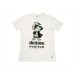 Dickies/ディッキーズ×テヅカフジオ・コラボ 172U30TF01 「ブラック・ジャック×バカボンのパパ」プリント 半袖Tシャツ ホワイト|bros-clothing