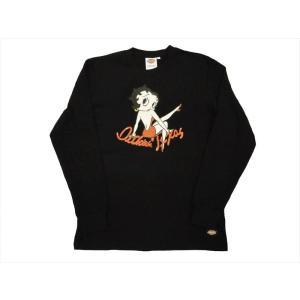 Dickies/ディッキーズ×Betty Boop・コラボ 長袖Tシャツ 174U30BT03 「ベティーちゃん」プリント ロングTシャツ ブラック|bros-clothing