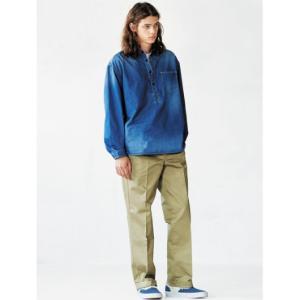 Dickies/ディッキーズ 長袖シャツ 181M20WD06 インディゴ  オーバーサイズ プルオーバー長袖ワークシャツ|bros-clothing