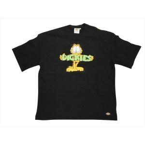 Dickies/ディッキーズ×ガーフィールド コラボ 181U30G105 GARFIELDプリント 半袖ミニ裏毛カットソー/Tシャツ ブラック|bros-clothing