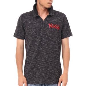 Norton ノートン・ポロシャツ 192N1209 吸水速乾 カラー ラメ 使い スキッパー W襟 半袖ポロシャツ ブラック杢|bros-clothing